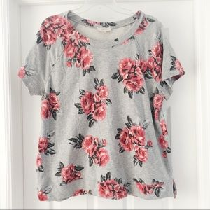Loft Outlet Pink and Grey Floral Top Size XL